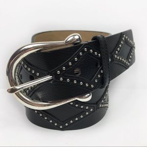 Michael Kors Black Leather Diamond Studded Belt L